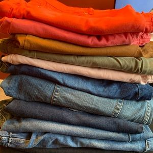 10 pairs of Maurice's jeggings and 1 torrid overal